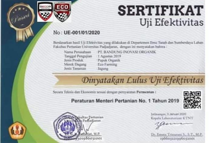 sertifikat uji efektivitas pupuk eco farming